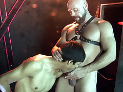 Shaved sexually attractive sir scores his man victim at the cross